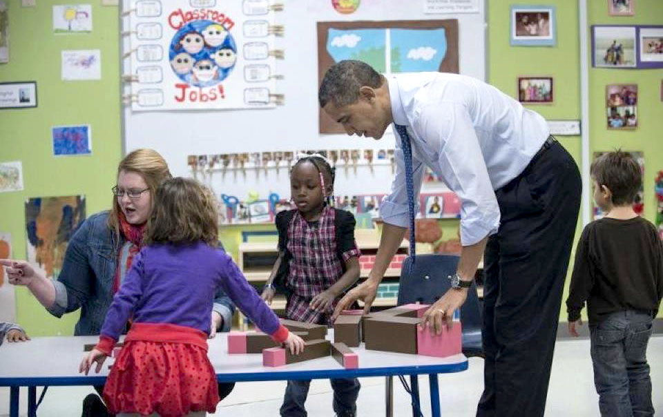 Material Montessori! Barak Obama with Montessori Pink Tower