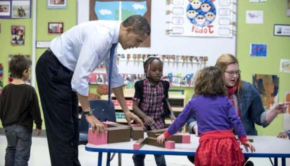 Barack Obama with Montessori Materials
