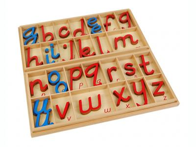 Large D'Nealian Style Moveable Alphabet, Red & Blue 5/10 Count With Box