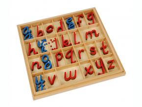 Small D'Nealian Style Moveable Alphabet, Red & Blue 5/10 Count With Box